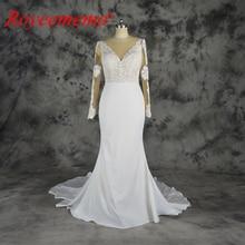 Royeememo 2019 lace top Wedding Dress long sleeves nude