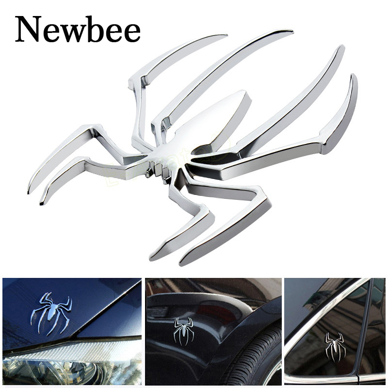 Newbee Car Styling Accessories Metal Sticker Chrome Spider Badge Emblem Motorcycle Decal For Vw Audi Jeep Honda Skoda Benz Ford