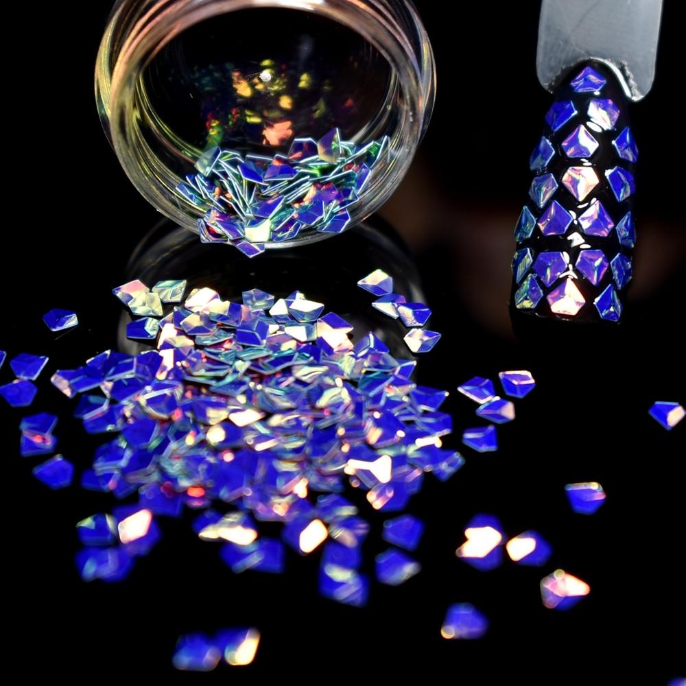 Holographic 3D Nail art Dekorationen Laser Lila Gold Glitter Blatt ...