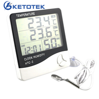 Digital LCD Temperature Thermometer Humidity Meter Clock 1m External Probe Household Indoor And Outdoor Used Free