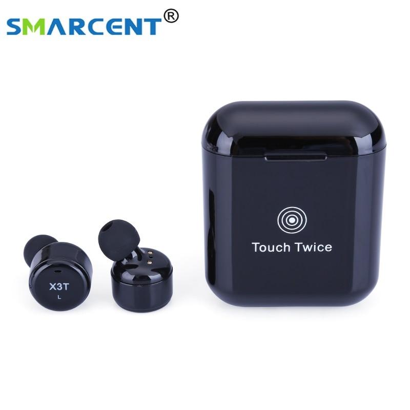 Écouteurs Bluetooth à bouton tactile Smarcent X3T sans fil avec micro Mini casques pour le Sport de charge pour iPhone PK X2T X1T