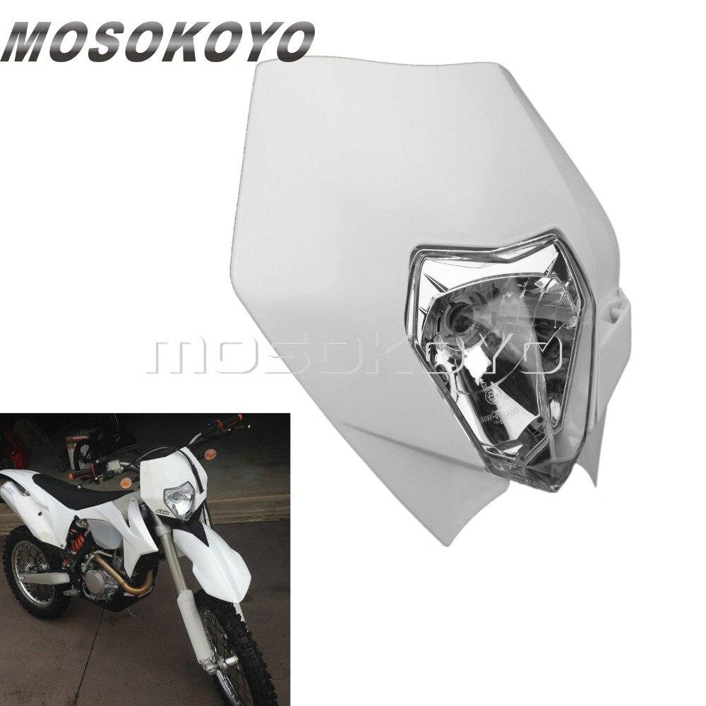 Branco mx bicicleta da sujeira 12v 35w enduro cabeça luz para ktm exc xc scf yamaha wr ttr 250r 250l 450f personalizado farol carenagem