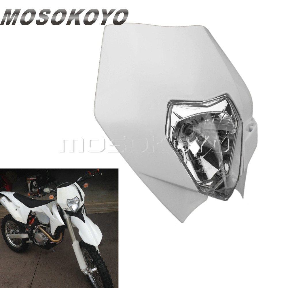 White MX Dirt Bike 12V 35W Enduro Head Light For KTM EXC XC SCF Yamaha WR TTR 250R 250L 450F Streetfighter Headlight