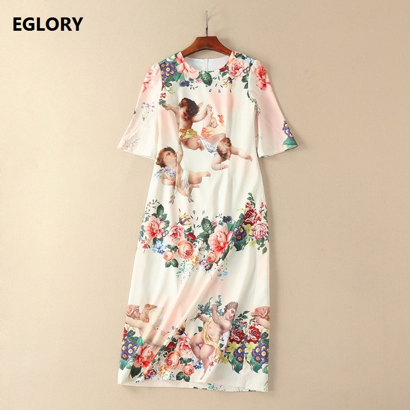 Cute Angel Baby Print Dress New 2018 Fashion Women O-Neck Half Sleeve Midi Bodycon Casual Dress Spring Summer Robe Femme Mujer
