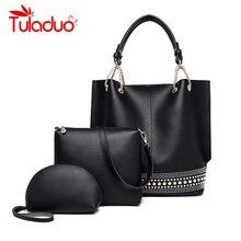 3 Sets Female Leather Handbags Big Women Bag High Quality Casual Female Bags Trunk Tote Spanish Shoulder Bag Ladies Large Bolsos