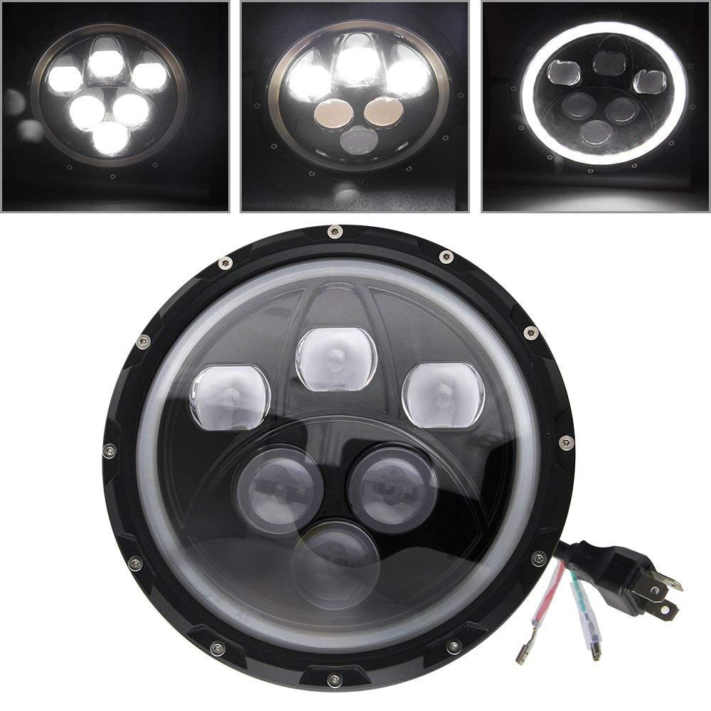 CO LIGHT 7 inch Led Headlight 60W 30W Hi/low Angel Eyes Auto Headlight for Jeep Wrangler 4x4 Lada urban Niva Motorcycle Hummer for jeep wrangler jk land rover defender hummer led headlamp 7 inch round headlight with halo angel eyes for lada 4x4 urban niva