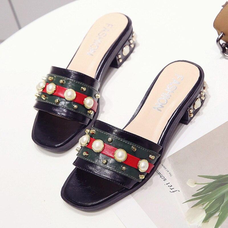 PHYANIC 2018 Для женщин Бусы заклепки летние шлепанцы Вьетнамки модные сандалии женская обувь на низком каблуке шлепанцы zapatos mujer