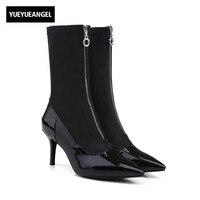 Yeni Moda Kadın Ayakkabı Fermuar Rugan Ince Topuklu Ayakkabı Için kadınlar Yüksek Topuk Çizmeler Sivri Burun Bayan Seksi Orta Buzağı Çizmeler