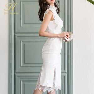 Image 3 - H Han Kraliçe Kadın Yaz 2 Adet Takım Elbise 2019 Dantel Patchwork Gömlek Üst Ve Mermaid Bodycon Etekler OL Iş Elbisesi iş Seti Yeni