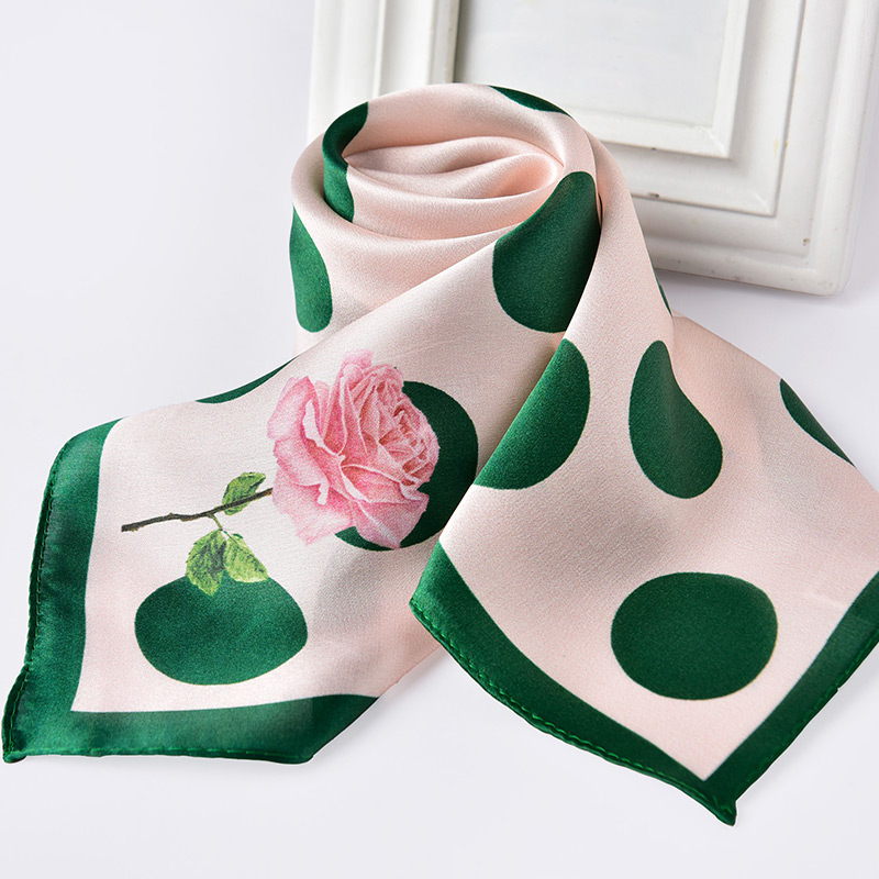 100% Natural Real Silk Neckerchief For Women Dot Print Silk Square Scarf Headscarf Thin Chinese Pure Silk Kerchief 65x65cm