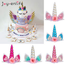 Unicorn Horn Cake Topper Unicorn Birthday Party Decor Kids Unicorn Party Decor Unicorn Birthday Party Baby Shower(China)