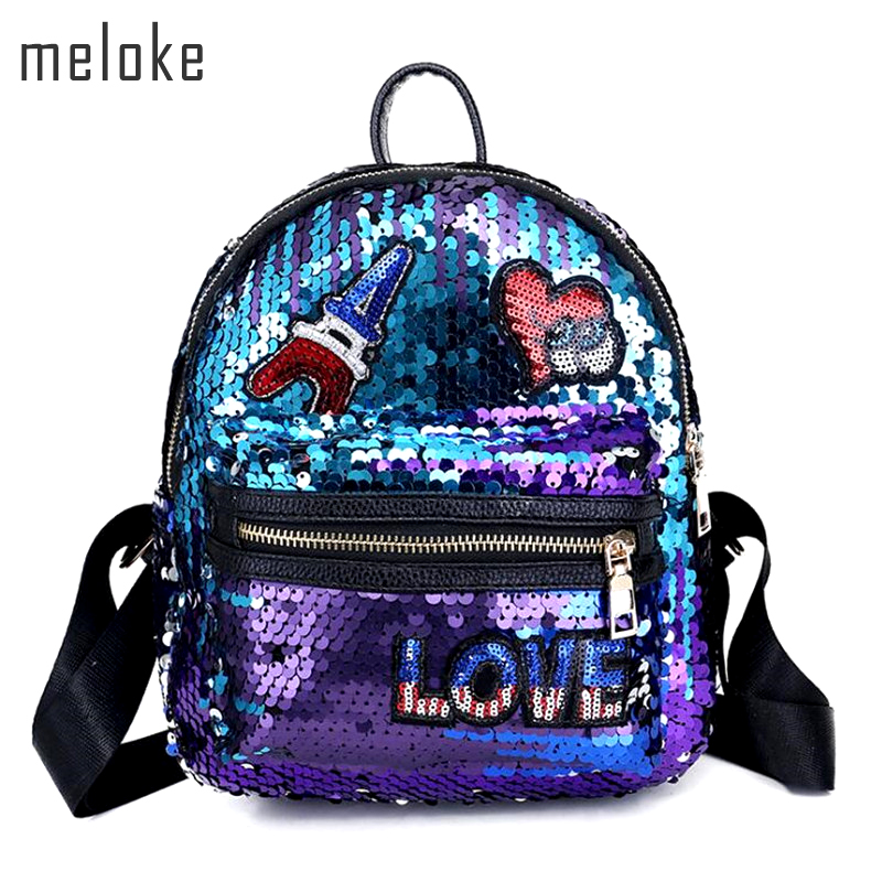 Meloke Glitter Backpack Women mini Sequin Backpacks Teenage Girls Bling heart Rucksack Gold Black School Bag Sequins bag MN899