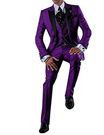 New Fashion Purple Mens Dinner Party Prom Suits Groom Tuxedos Groomsmen Wedding Blazer Suits (Jacket+Pants+Vest+Tie) K:2391
