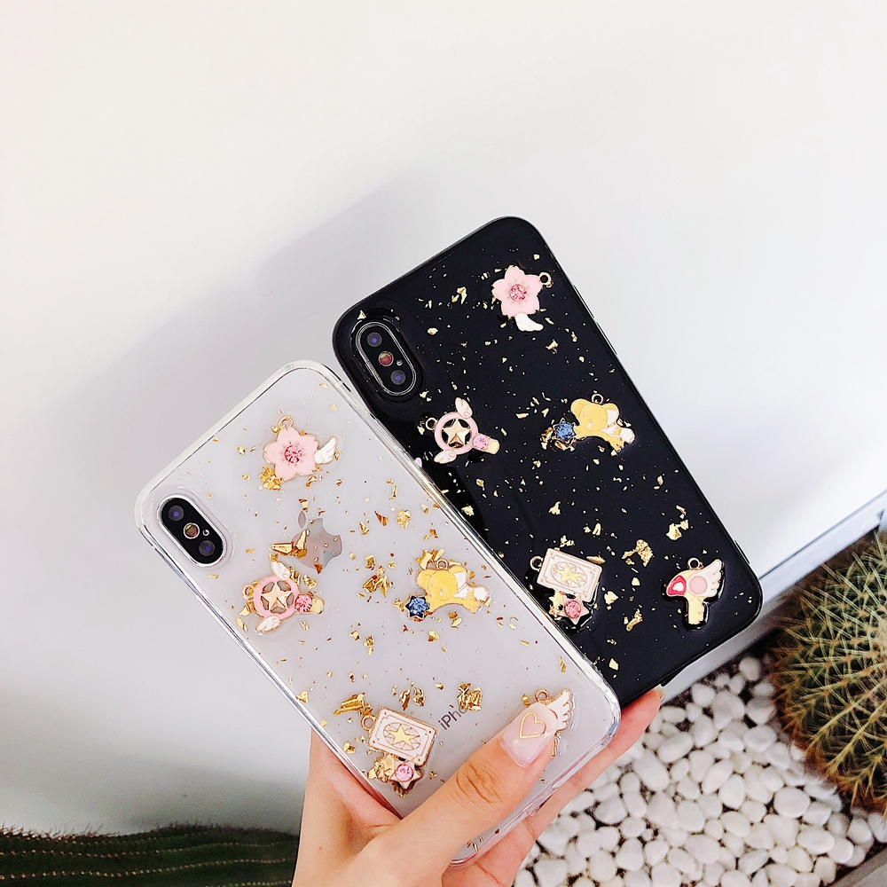 3D blue Planet moon Phone Case For iphone 7 8 6 6s plus X XR XS Max Gold foil glitter glue soft tpu protection Anti fall coque in Fitted Cases from Cellphones Telecommunications