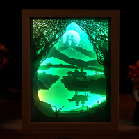 Brilliant Ideas Lights 3D Paper Cutting DIY LED Night Light Three Color Border Wall Lamp Bedroom