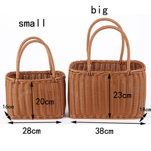 Image 2 - S/L ขนาดตะกร้า Hand Made หวายกระเป๋าแบบพกพาหวายกระเป๋าทอ PicnicBasket กระเป๋าชายหาด Totes Storage กระเป๋า