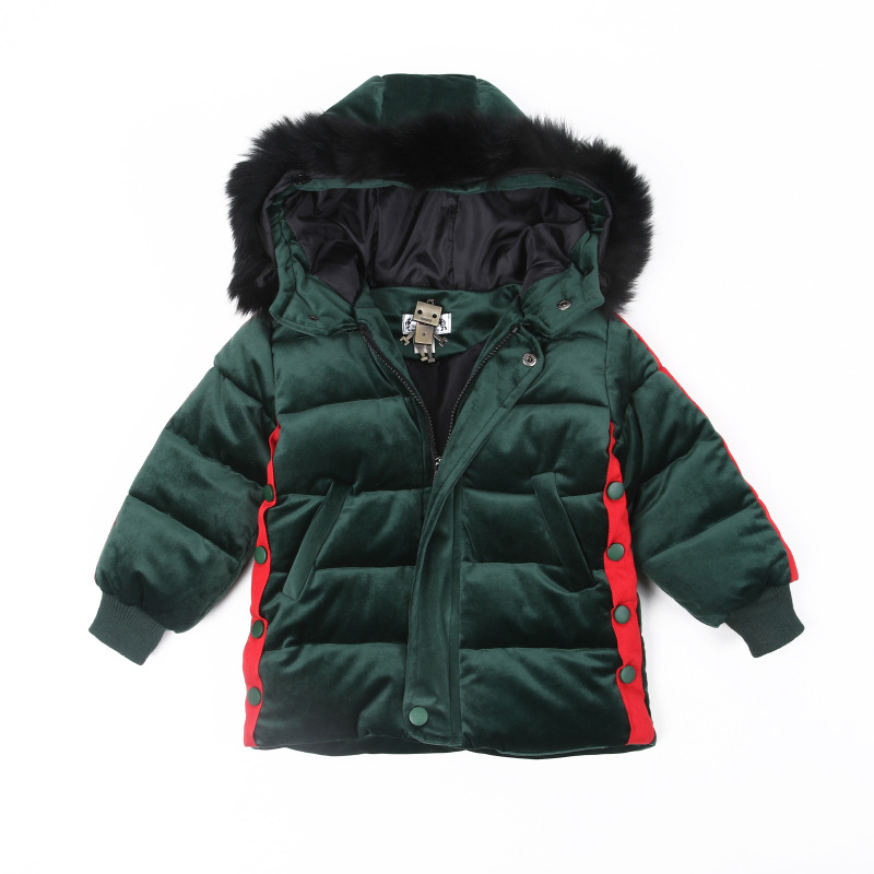 2017 Winter New Style Korean Bbaby Boys Velour Long Overcoat Kids Cotton-padded Fur Hooded Cotton-Padded Clothes Boys Jacket/Top baby boy clothes set autumn children clothing sets kids girls long sleeve elephant cotton pants boys clothes sports suit