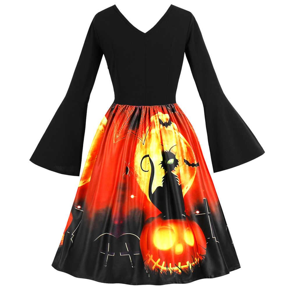 Wipalo/осеннее женское винтажное платье на Хэллоуин с принтом кошки, v-образный вырез, расклешенный рукав, корсет, ретро платье, Хепберн, 50 s, 60 s, рокабилли, Vestidos