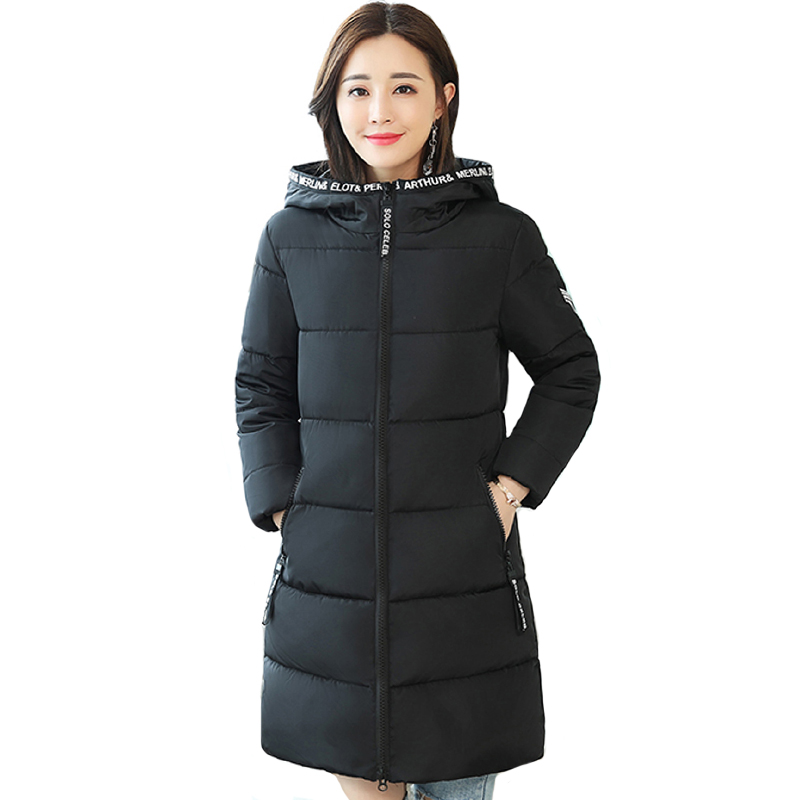 2019 New Design Women Winter Jacket Hooded Solid Black Army Green Female Long   Parka   Padded Coat