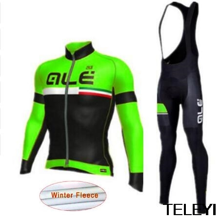 2017 ALE Cycling Jersey Long Sleeve Winter Thermal Fleece Bicycle Cycling Jersey Bib Pant Set Winter Moutain Bike Clothing #02 teleyi men cycling jersey bike long sleeve outdoor bike jersey bicycle clothing wear breathable padded bib pants set s 4xl