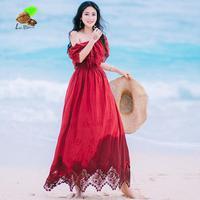 Kobiet Krajowe Wiatr Lato Drukuj Lace Slash Neck Użytki Zielone Czerwone Rocznika Sukienki Dziewczyny Słodkie Plaża Długa Sukienka Boho Ubrania