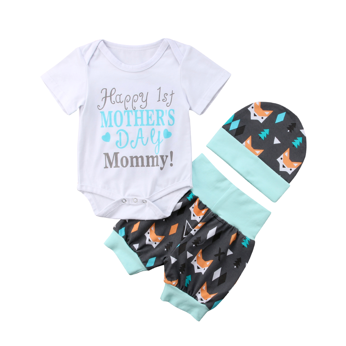 Mother's Day Outfits 0-24m Newborn Infant Baby Girl Boy Cartoon Little Animal Romper Short Pants Hat Clothes 3pcs I Love Mommy Ample Supply And Prompt Delivery