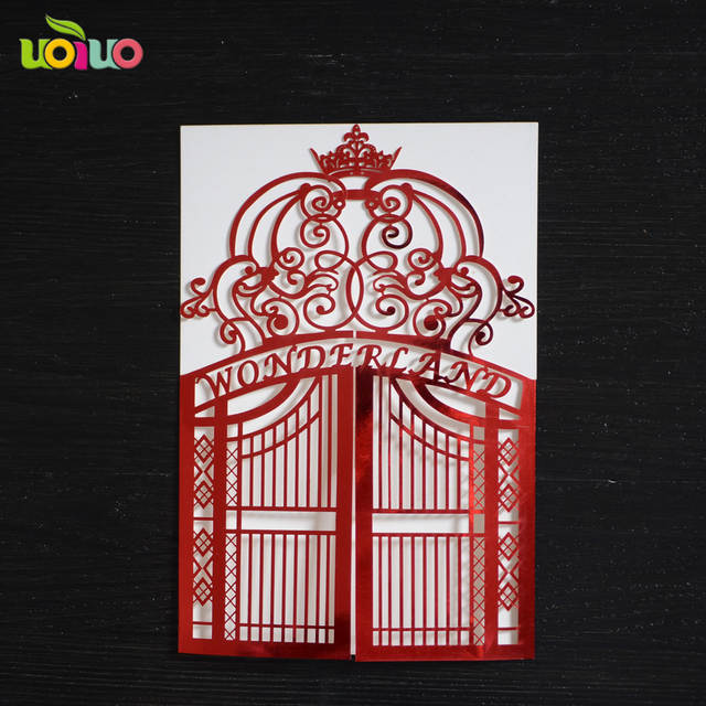 Online Shop Style Gate Design Laser Cut Invitation Cards Models