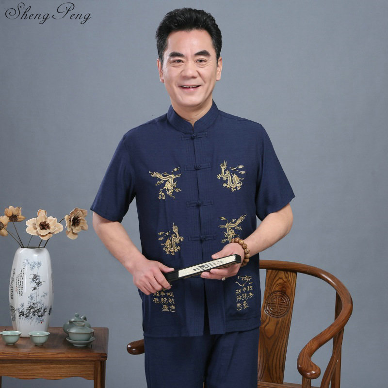 Traditional chinese clothing for men chinese tunic suit shanghai tang traditional chinese clothing chinese clothing store Q098 image