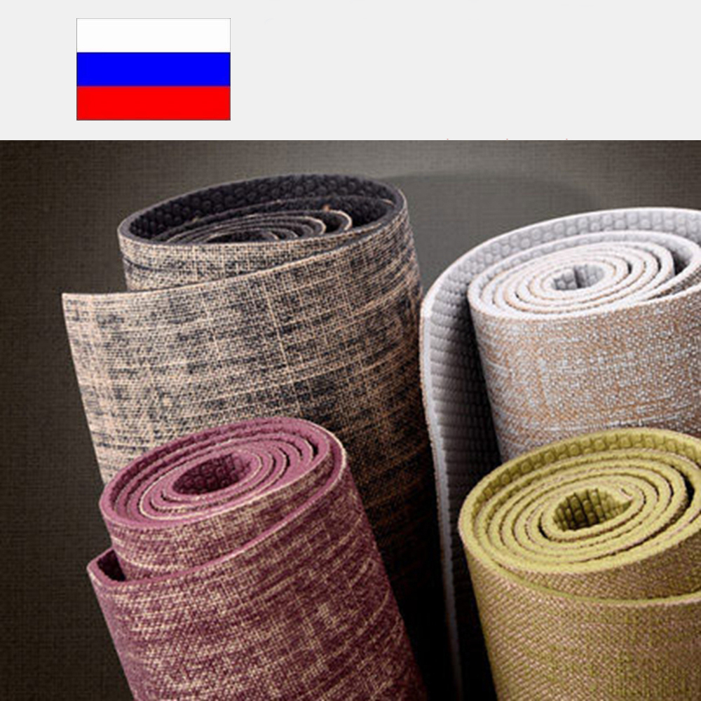 Non-slip Yoga Mat Lose Weight Exercise Pilates Pad Nature Yoga Mat Thickness 5mm Linen Material Gray Blue Yellow 173cm 5mm