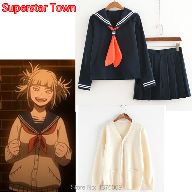 68da4ccf9bb My Hero Academia Himiko Toga Costume Japanese Anime Cosplay Suit School Girl  JK Uniform Sweater Cardigan Clothes