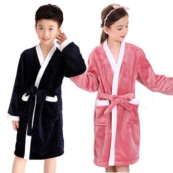 Modis Winter Bath Robe for Kids Bathrobe Fleece Boys Robes Girls Pajamas Warm Pyjamas Teenager Bath Robe Swim Children Clothes
