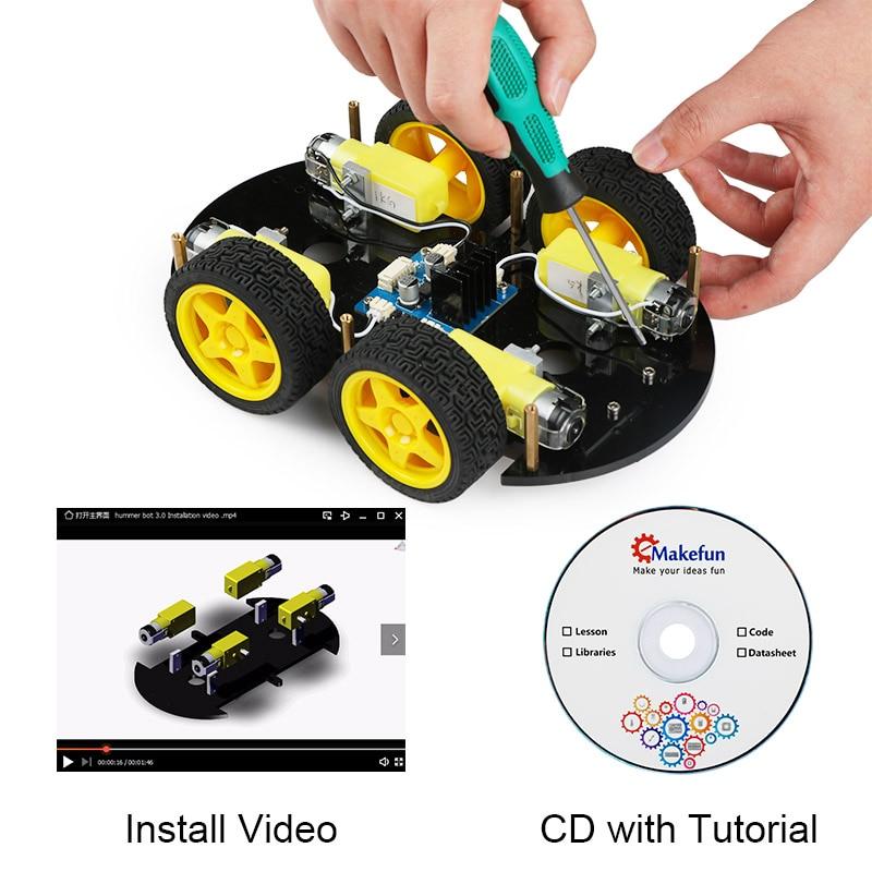 R$ 287 01 21% de desconto|Carros Emakefun Para Arduino Robot 4WD APP  Bluetooth Controle Remoto RC Haste de Aprendizagem Kit de Robótica  Educacional
