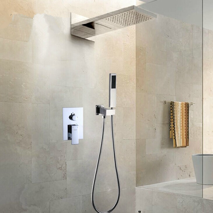 aliexpresscom buy bathroom concealed shower sets luxury rain waterfall shower with two function shower mixer shower bath from reliable shower head mixer