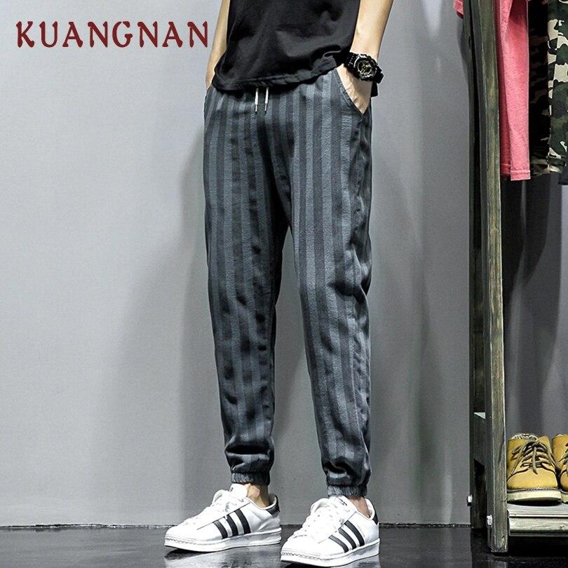 KUANGNAN Trousers Streetwear Pants Cotton Linen Fashions New 5XL Ankle-Length Men