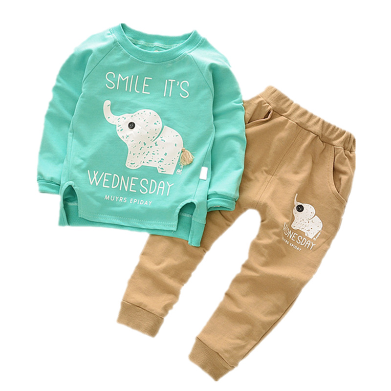 Baby Clothing Set Boys Girls Cartoon Elephant Clothes Sets T-shirt+Pants Sets 2017 Summer Fall Long Sleeve Cotton Suit 1-4Y summer girls boys clothes kids set velvet hello kitty cartoon t shirt hoodies pant twinset long sleeve velour children clothing