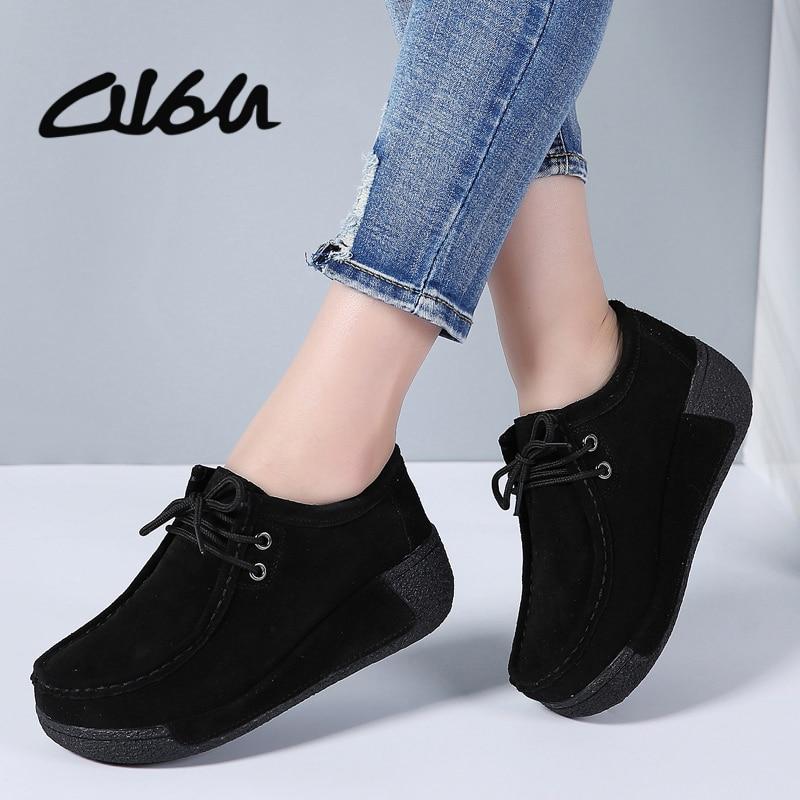 f17396b4cf8 O16U zapatos planos de plataforma de cuero de gamuza con cordones para mujer  mocasines Creepers slipony mujer Casual zapatos de verano señoras invierno  en ...
