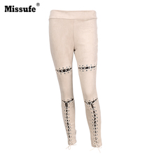 Missufe Lace Up Cut Out Suede Leather Pencil Pants 2017 Street Fashion Casual Outfit Women Trousers Sexy Bandage Legging Pants