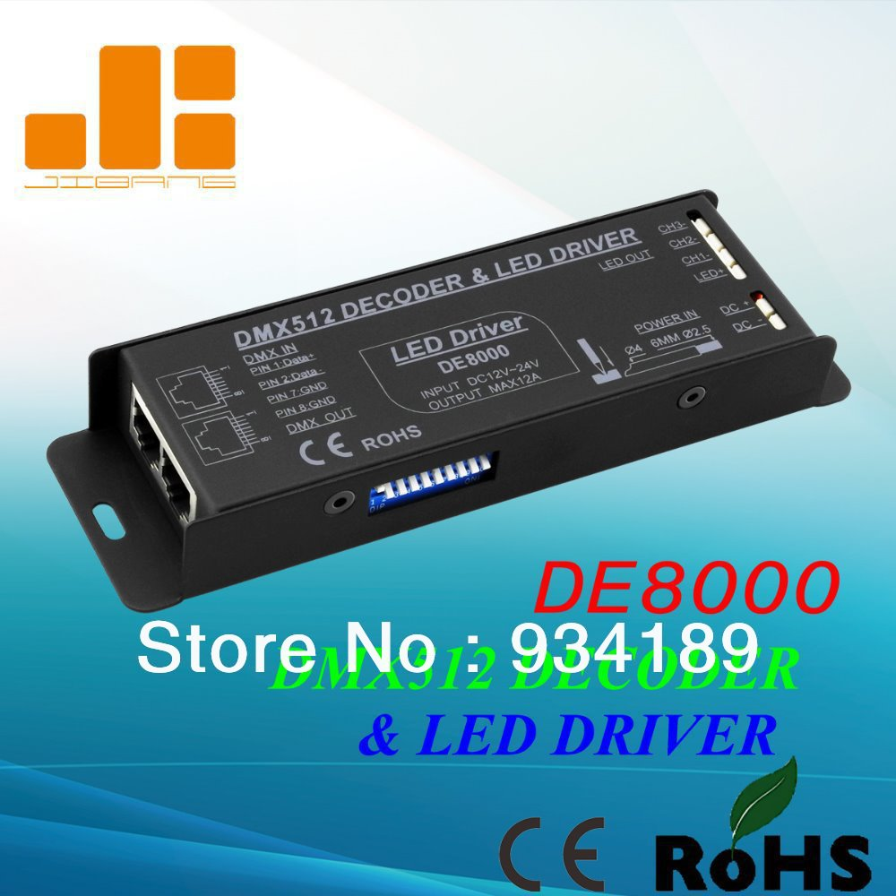 Free Shipping DMX Decoder & LED Driver 3 Ch RGB Controller Input DC12-24V Constant Voltage Single CH Output PWM <4A Mdl:DE8000