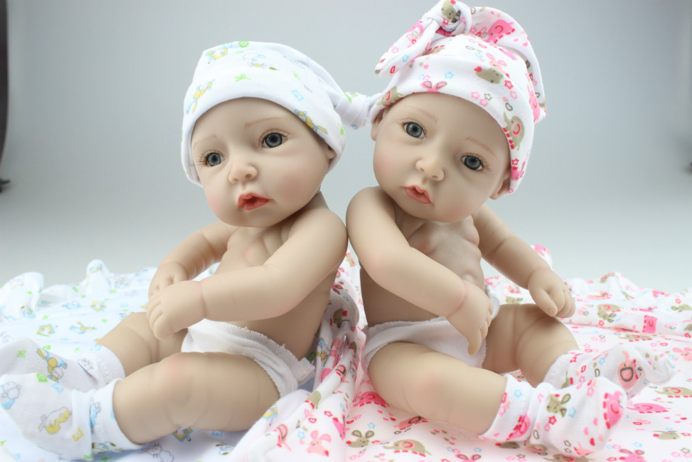 MINI Simulation Twin Doll Cute Sweet Little Baby Silicone Vinyl Babydoll Babies Sleeping Toys Free Shipping