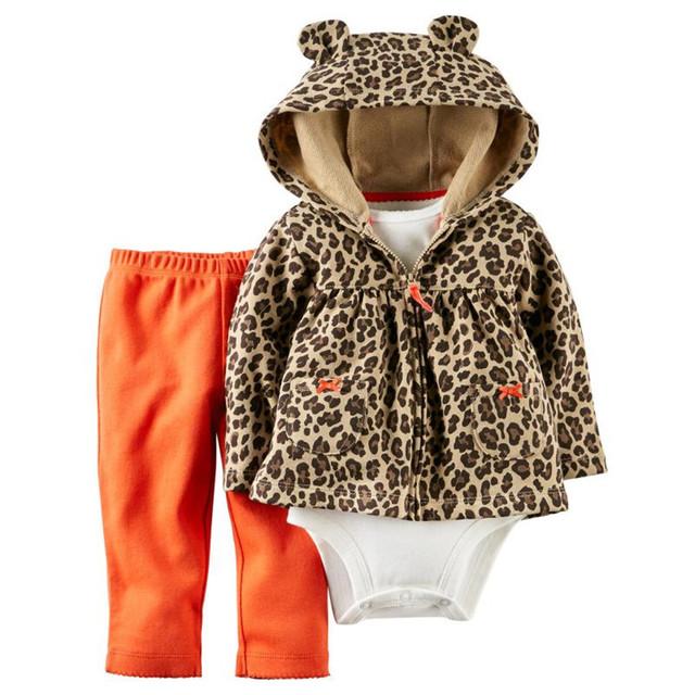 Bebê Menina Conjuntos de Roupas de Recém-nascidos de Leopardo 3 Pcs Conjunto Casaco + Calça + Romper Crianças de Algodão Inverno Roupas de Primavera 2017 nova Moda 15E