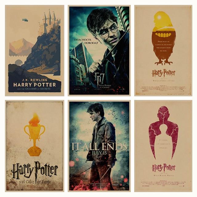 Harry Potter retro póster retro Kraft paper bar Decoración para el hogar pintura Wall sticker