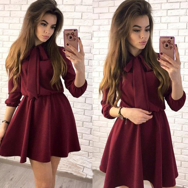 Women Casual Bow Solid Empire Mini Dress Long Sleeve A line Stand Collar Dress 2018 Autumn Fashion Chic Women Party Dress