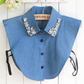 Fake collar women Blue jeans detachable shirt Pullover Choker Necklace fashion Diamond crystal pearl cowboy shirt lapel HY