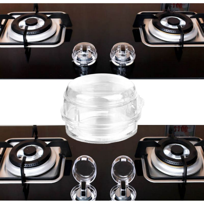 Kids Baby Gas Stove Switch Cover Locks Child Proof Oven Cooker Knob Transparent Sleeve Children Safety Care Home Kitchen
