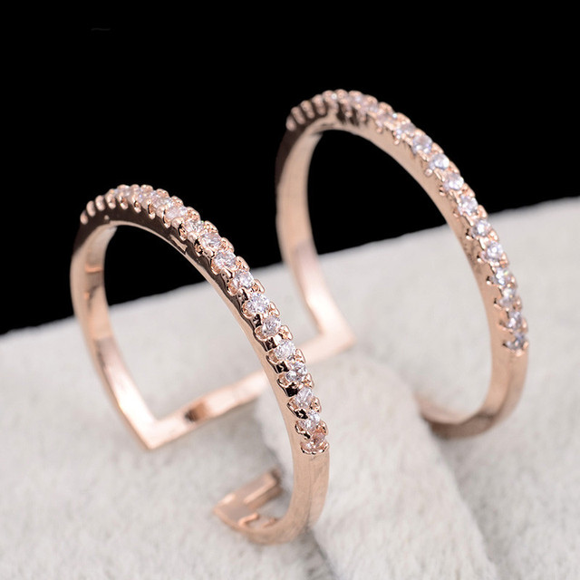 Pipitree Rose Gold Color Open Double Circle Mid Knuckle Ring Female CZ Zircon Fashion Rings for Women Party Couple Jewelry