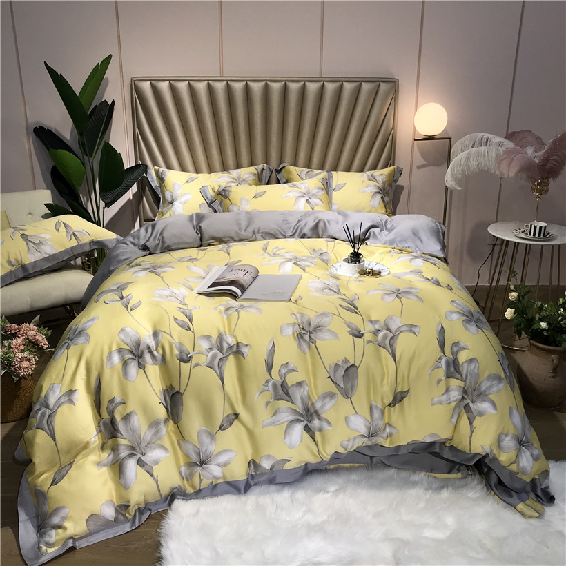 2019 Tencel Silk Soft Bed sheet Bedclothes 4Pcs King Queen size Bedding Set Duvet Cover Fitted