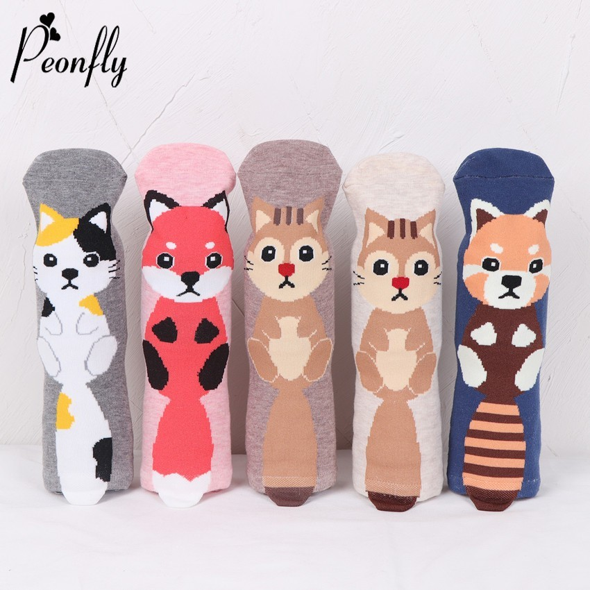 PEONFLY Autumn Fashion Women Cartoon Animal Ear Cotton Short Socks Printing Funny Cat Fox Squirrel Pattern Female Socks Hosiery