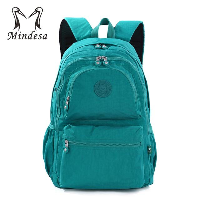 MINDESA School Backpack For Teenage Girls Mochila Feminine Backpacks Women  Casual Laptop Bagpack Female Solid Nylon Sac A Dos 60fd4e0ff3b9b