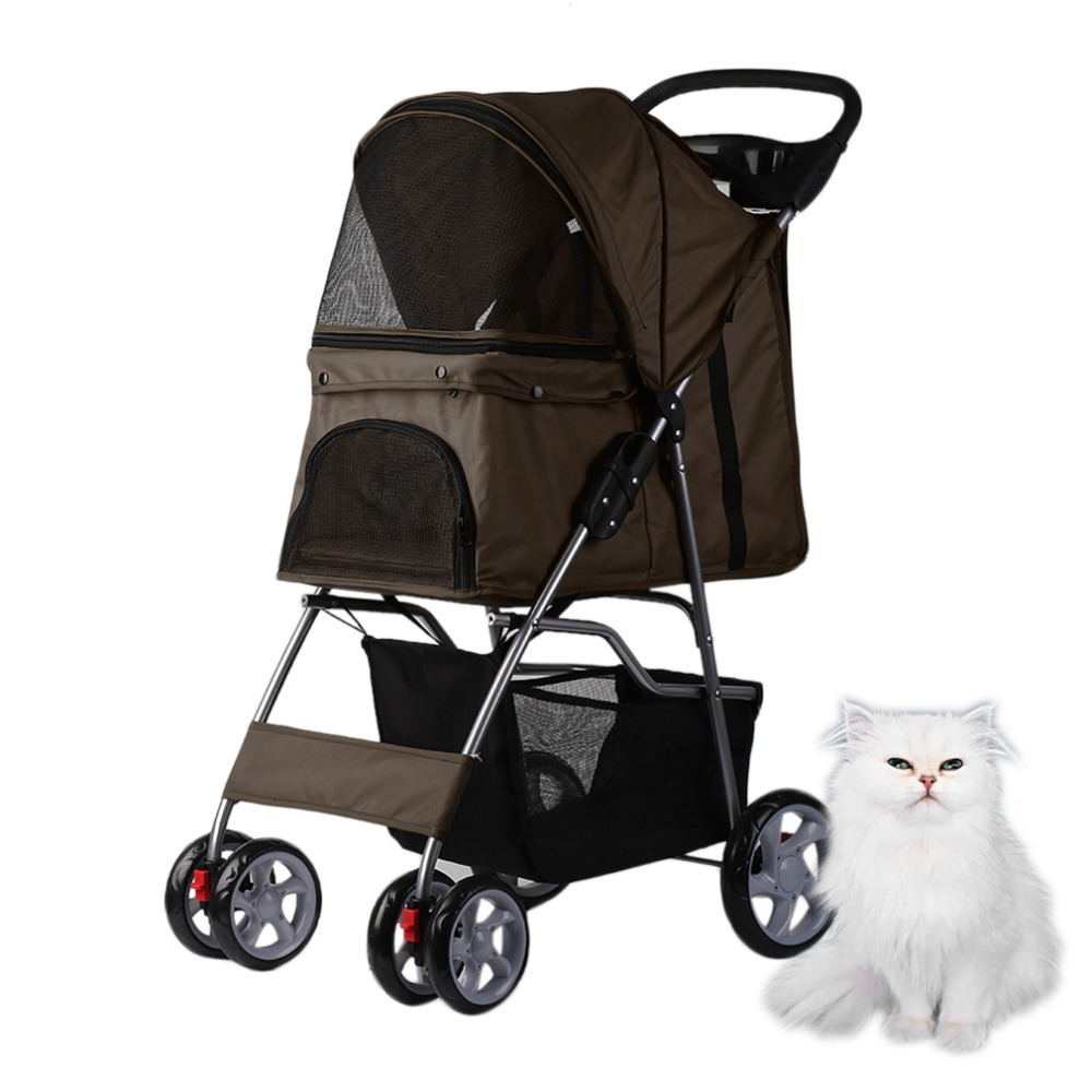 Fashionable Foldable Pet Dog Outdoor 4 Wheels Carrier Strolling Cart Good Ventilation Pet Dog Cat Lovely animals Stroller Cart pet attire sparkles dog collar 8 12in pink