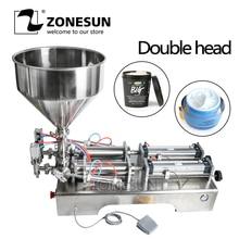 ZONESUN машина для наполнения двойными головками Автоматический Пневматический бункер крем Шампунь Увлажняющий Лосьон косметическое масло мед еда паста